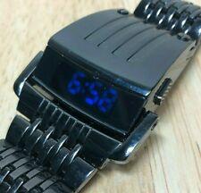 Desktop Style Mens Black Modern Blue LED Digital Quartz Watch Hours~New Battery