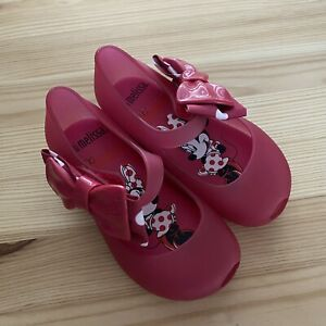 NWOT MINI MELISSA Disney Red Minnie Mouse Bows Flats Shoes Size 7 Toddler