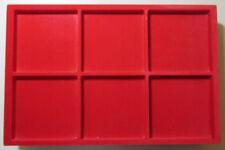 VASSOIO 6 CASELLE 96x96 h15 mm per Monete Medaglie in Floccato rosso MASTERPHIL