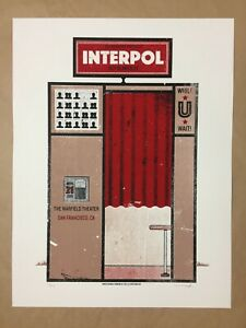 Interpol screen printed concert poster rare Lil Tuffy 36/200 SF 2015 17.5x23