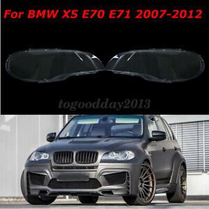 For BMW X5 E70 2007-2012 Pair Lamp Headlight Lenses Cover Lampshade Bright Clear