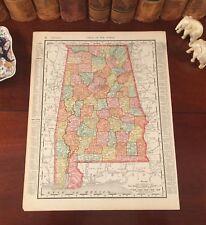 Large Original 1899 Antique Map ALABAMA Huntsville Mobile Auburn Gadsden Selma