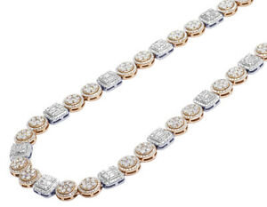 """14K Two Tone Rose White Gold Baguette Flower Cluster Halo Chain 9MM 20"""" 17 CT"""