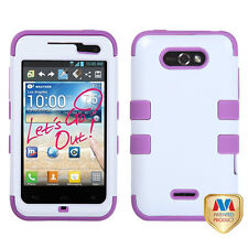 LG Motion 4G / Optimus Regard IMPACT TUFF HYBRID Case Phone Cover White Purple