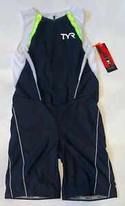 TYR Men's XXL Black White Neon Tri Suit Short John Front Zipper USA Made New