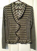 Women's MARC CAIN Sport Green Black Stripe Knit Jacket US Small