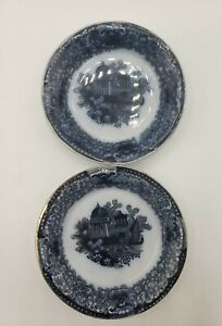 """2 Staffordshire Transferware Butter Pats Black / Mulberry 3-1/4"""" 1800s"""