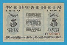 Germany Winterhilfswerk WHW 5 RM 1940-41 S/B-Kroll 383a Block A As Issued