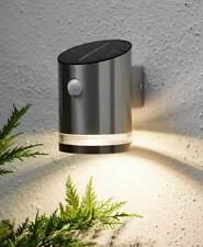 Solar Wandlampe Wandleuchte 4 warmweiße LEDs Bewegungsmelder 65 Lumen Edelstahl