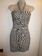 bebe XS Mini Dress Black White Illusion Striped Slimming Ruched Halter Cocktail
