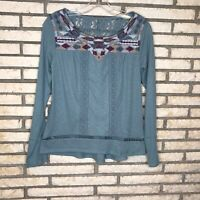 Knox Rose Womens Green Long Sleeve Embroidered Boho Knit Top Size Small