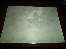Four Essential Home Rectangular Ivory Gold Poinsettia Glimmer Placemats