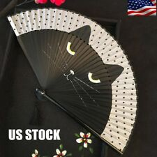�Vintage Japanese Silk Hand Fan Cartoon Cat Painted Folding Fan Craft Gift