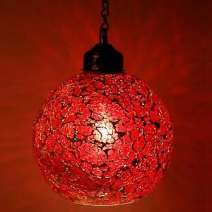 Red Tuffen Glass Decorated Glass Hanging Lamp Home Wedding Décor