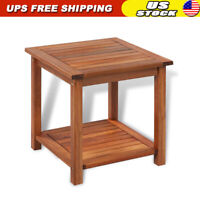 Side End Table Solid Acacia Wood Garden Patio Porch Furniture Storage Shelf US