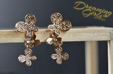 Cute Rose Gold Plated Rhinestone Triple Linked Butterflies Drop Earrings