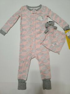 Sleep On It Infant Girls Coverall PJ With Blankey Buddy Size 18M