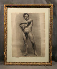 Realistic Athletic Nude Man American Black & White Charcoal Early 20 Century GAY