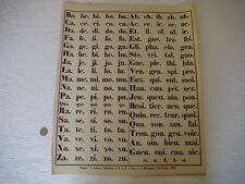 AFFICHE Scolaire datée 1852 - Ancienne - Syllabes - 45 X 55 cm- vD073