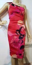 KAREN MILLEN FLORAL PENCIL ONE SHOULDER DRESS SIZE UK 8 US 4 RED MIX BLACK 70%