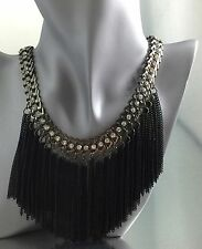 Beautiful Haute Couture Gunmetal w Sparkly Crystal Tassel Black Fringe Necklace