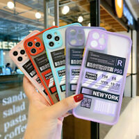 For iPhone 11 Pro Max XR XS 8 7 Plus Ticket Label Pattern Hard Phone Case Cover