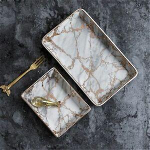 Marble Ceramic Tray Jewelry Storage Porcelain Dessert Plate Dinner Fruit Snack