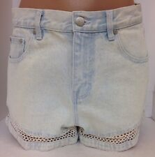 Mink Pink Shorts White And Light Blue Denim Crochet Trim Small