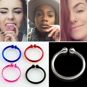 1-4PC Sterling Silver Wire Non Piercing Fake Nose Clip 20g (0.8mm) Single 8-12mm