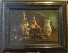 Antique German Painting Oil/Canvas Still Life w/Beer Stein sign. Berthold c.1900