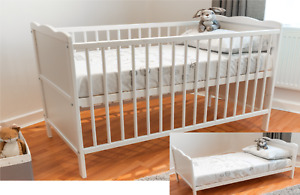 White Baby Full Size Cot Bed & Cotbed Deluxe Mattress,Converts into a Junior Bed