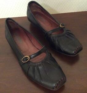 Women's Pikolinos Black Leather Shoes Square Stitched Toe Mary Jane Flats Size 5