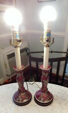 REDUCED Chinoiserie-style Candlestick table lamps embossed floral design Mauve