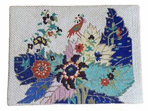 "Needlepoint Tapestry 12""x16"" Finished Vtg Mid Century Blue Gold Bird Feathers"
