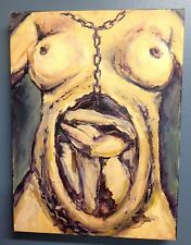 "CONCEPTION BOUND FEMINISM ""FEMBOT"" ORIGINAL OIL PAINTING NUDE 12X16 by D Warren"