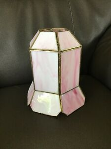 "VINTAGE TIFFANY STYLE PINK GLASS WITH GOLD FRAME PENDANT LIGHT SHADE 7.5"" TALL"