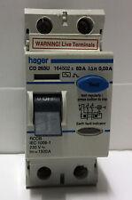 HAGER CD263U RCCB RCD 63A 30mA RCD Double 2 Pole Circuit Breaker 64501 BSEN61008
