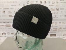 BENCH Ribbed Beanie Men's Basic Logo Hat Turn up Wool Blend Black Skull Cap BNWT