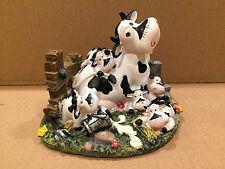 Mother Cow & 5 Calfs Figurine Dairy Farmyard Fence Flowers Spilled Milk Bucket