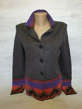Etro Milano Cardigan Jumper Sweater Women Color Abstract Embellished Sz 42 wool