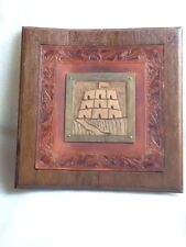 VINTAGE HANDMADE MEXICAN EMBOSSED LEATHER ON BOARD PLAQUE SIGNED P.V.K.