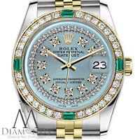 Ladies Rolex 26mm Datejust 2 Tone Ice Blue String Emerald Diamond Dial Watch