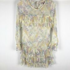 asos Petite Dress Sheer Floral Size 4 Long Sleeves Ruffle Front Detail