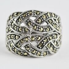 ART DECO INSPIRED MARCASITE RING 925 STERLING SILVER HALLMARKED