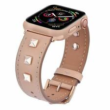Apple Watch Series 4/3/2/1 Band 42mm/44mm Leather Rivets Strap sweat absorbent