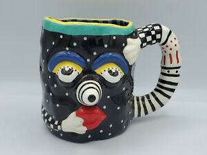 Vintage Judie Bomberger Figural 3D Face Coffee Clown Modern Art Deco Cartoon Mug