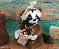 "handmade  OOAK Artist teddy bear raccoon 7"""