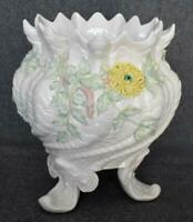 6TH MARK 3RD GREEN MARK BELLEEK IRELAND LARGE 3 FOOTED FLORAL LADEN JARDINIERE