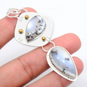 "Merlinite Dendritic Opal -Brazil 925 Silver Two Tone Gold Plated Pendant 3"" S644"