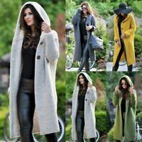 Women Long Sleeve Knitted Hooded Splice Cardigan Sweater Outwear Jacket Coat Top